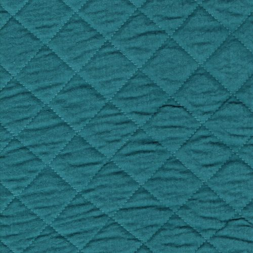 Tissu double gaze de coton matelassée paon