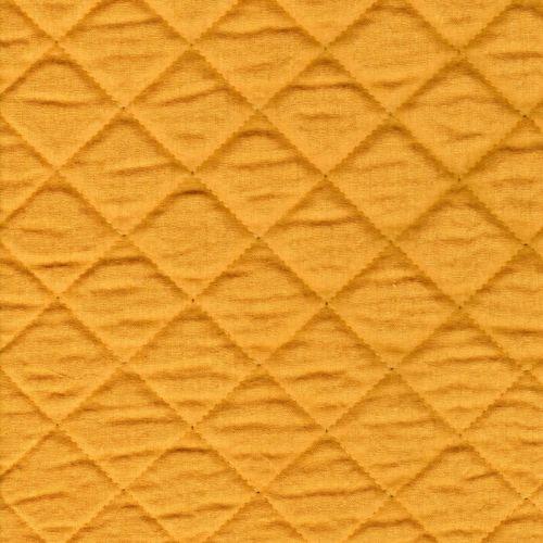 Tissu double gaze de coton matelassée moutarde