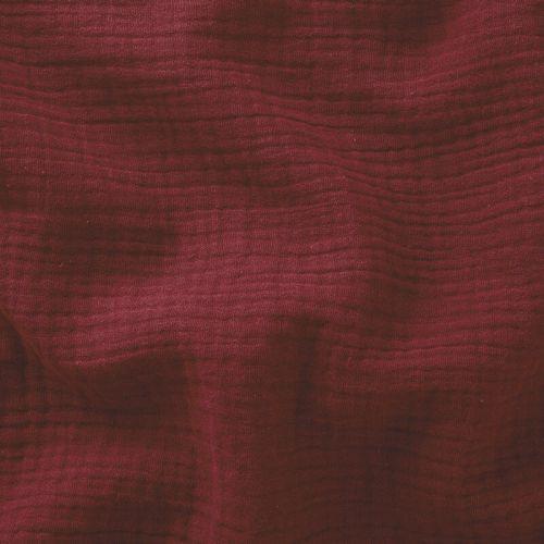 Tissu double gaze de coton froisée grenat