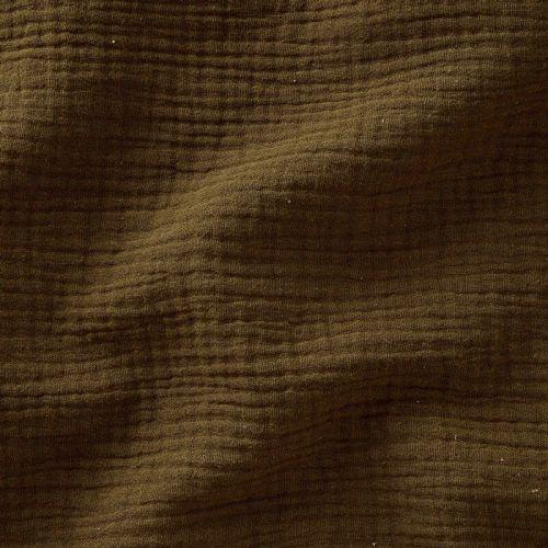 Tissu double gaze de coton froisée bronze