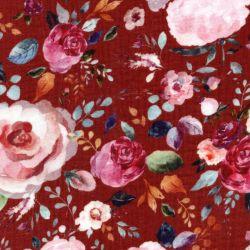 Tissu double gaze de coton BIO painted flower fond terracotta Poppy