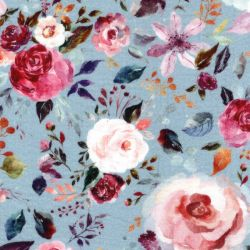 Tissu double gaze de coton BIO painted flower fond bleu Poppy
