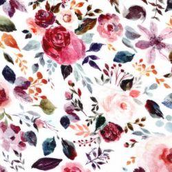 Tissu double gaze de coton BIO painted flower fond blanc Poppy
