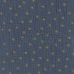Tissu double gaze de coton étoiles fond bleu orage