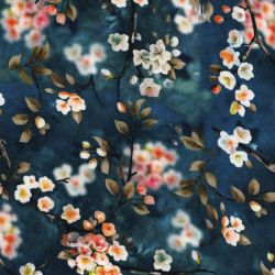 Tissu popeline de viscose fleurs de cerisier fond bleu