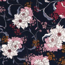 Tissu twill stretch viscose grands fleurs fond marine