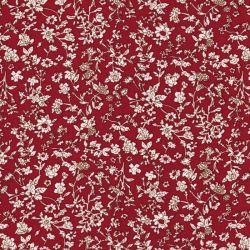Tissu popeline de viscose fleurs des champs fond rouge