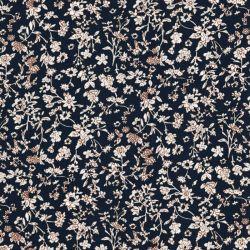 Tissu popeline de viscose fleurs des champs fond bleu