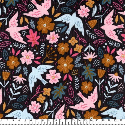 Tissu velours milleraie Flowers and birds gris Poppy