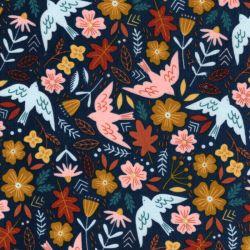 Tissu velours milleraie Flowers and birds bleu Poppy