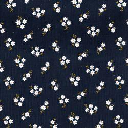 Tissu velours milleraie Small flowers bleu  avec pointes de glitter Poppy