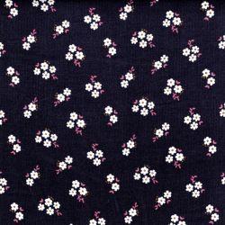 Tissu velours milleraie Small flowers fond gris avec pointes de glitter Poppy