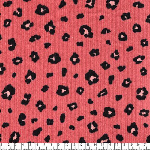 Tissu velours cotelé léo rose