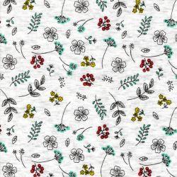 Tissu sweat petites fleurs multi fond beige