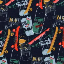 Tissu sweat coton BIO Skateboards Poppy fond bleu