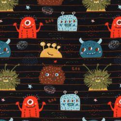 Tssu sweat coton BIO Monsters Poppy fond noir