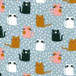 Tissu sweat fin coton BIO Meow ! Poppy fond bleu
