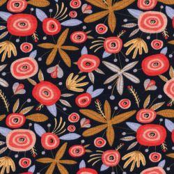 Tissu sweat Flower Poppy marine pointe de glitter