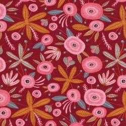 Tissu sweat Flower Poppy bordeaux pointe de glitter