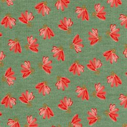 Tissu sweat gratté fleurs éventail vert pointe de glitter Poppy