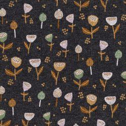 Tissu sweat gratté Fantasy flowers  pointe de glitter gris Poppy