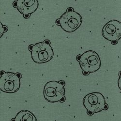 Tissu sweat fin BIO Bear Poppy fond vert