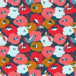Tissu sweat fin Flowers & birds Poppy BIO