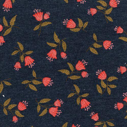 Tissu Flowers pointe de glitter argent fond bleu jean Poppy