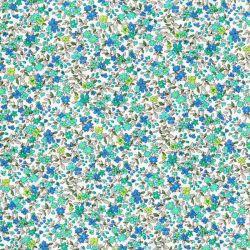 Tissu coton petites fleurs tons vert/bleu fond blanc