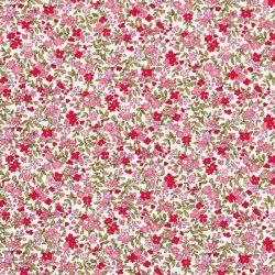 Tissu coton petites fleurs roses fond blanc