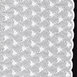 Tissu coton broderie anglaise croisillons avec double bordure