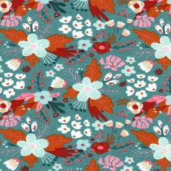 Tissu jersey coton BIO Flowers Poppy fond vert