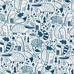 Tissu jersey Woodland Animals Poppy fd gris 60%cot/35%pl/5%e