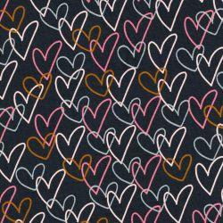 Tissu jersey coton BIO coeurs Poppy fond gris
