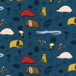 Tissu jersey coton BIO Safari Animals Poppy