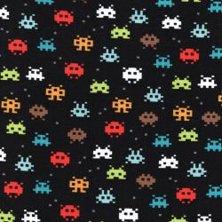 Tissu jersey coton BIO Pixel Game fond noir Poppy
