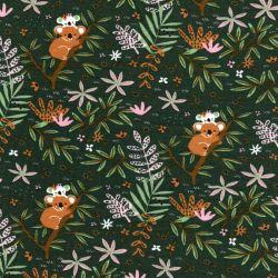 Tissu jersey coton BIO Koalas fond vert Poppy