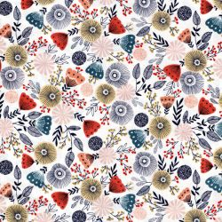 Tissu coton english garden fond blanc