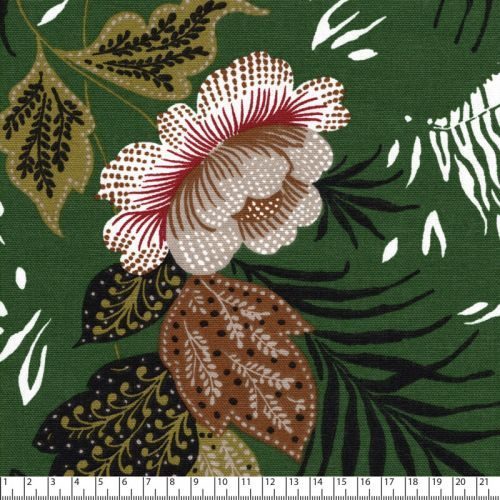 Tissu toile de coton zèbre fond vert