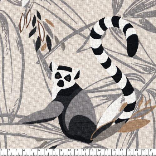 Tissu toile de coton lémuriens fond beige