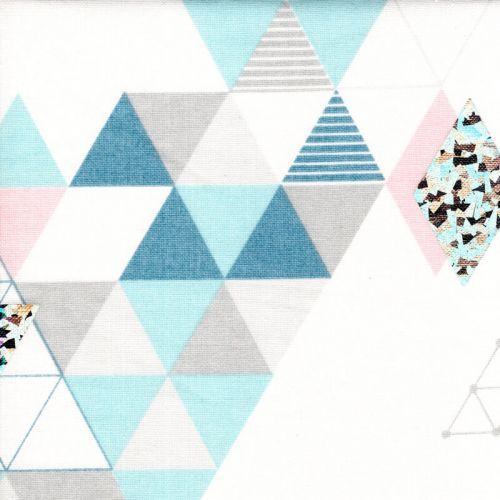 Tissu toile de coton motifs géometriques et holographiques fond blanc