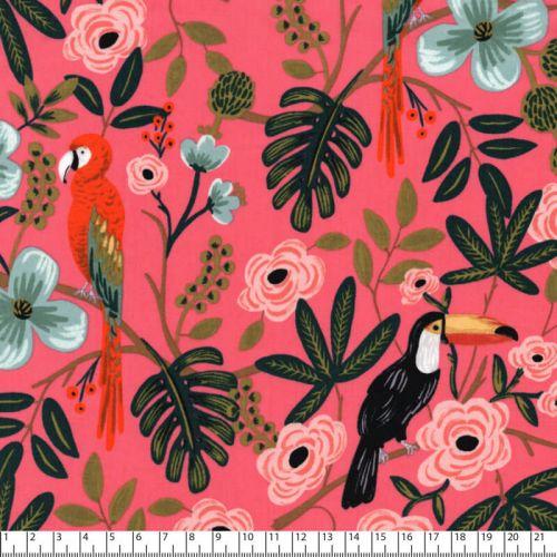 Tissu paradise garden fond rose Rifle Paper Co