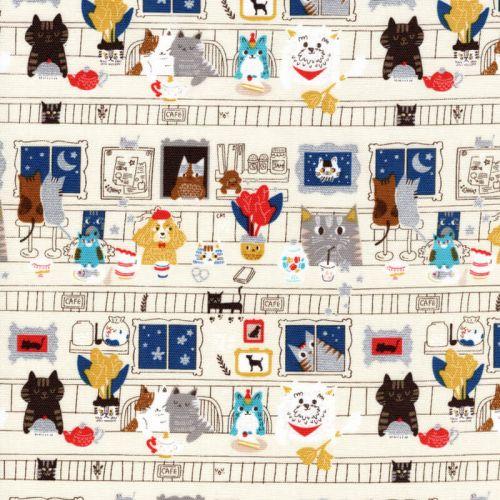 Tissu coton Chiens et chats à table