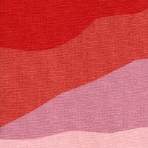 Tissu toile de coton vagues roses/rouges