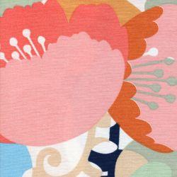 Tissu toile de coton grandes fleurs type scandinave