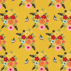 Tissu coton Birdy flowers Fiona Hewitt jaune