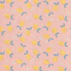 Tissu coton BIO citrons fond rose nude