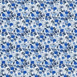 Tissu coton linon jardin anglais bleu