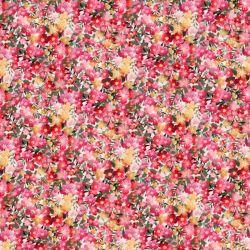 Tissu coton linon champ de fleurs roses