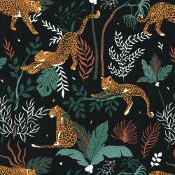 Tissu coton léopards jungle fond noir